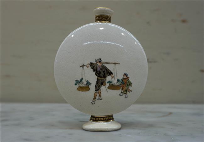 Japanese Kinkozan Earthenware Miniature Moon Flask Vase, Overall Height 4 Inches
