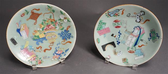 """Pair Chinese 'Famille Rose' Celadon Ground Dishes, 7.75"""" Diameter"""