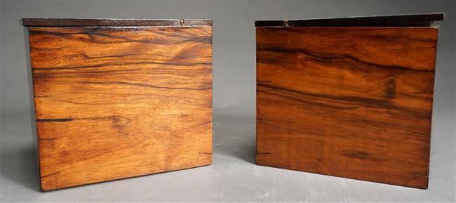 Pair of Rosewood Tea Caddies, H: 6 in, W: 3-3/4 in, D: 5-1/2 in