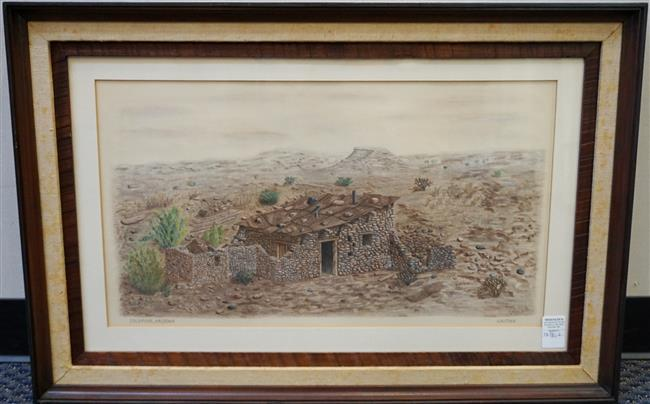 William Austin, Waiting, Goldroad, Arizona, Pastel on Paper, Framed, 23-1/2 x 35 inches