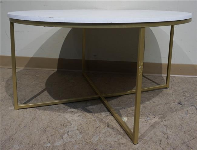 """Gilt Tubular Metal Base Round Faux Marble Wood-top Cocktail Table; 19 x 35.5 H x D"""""""