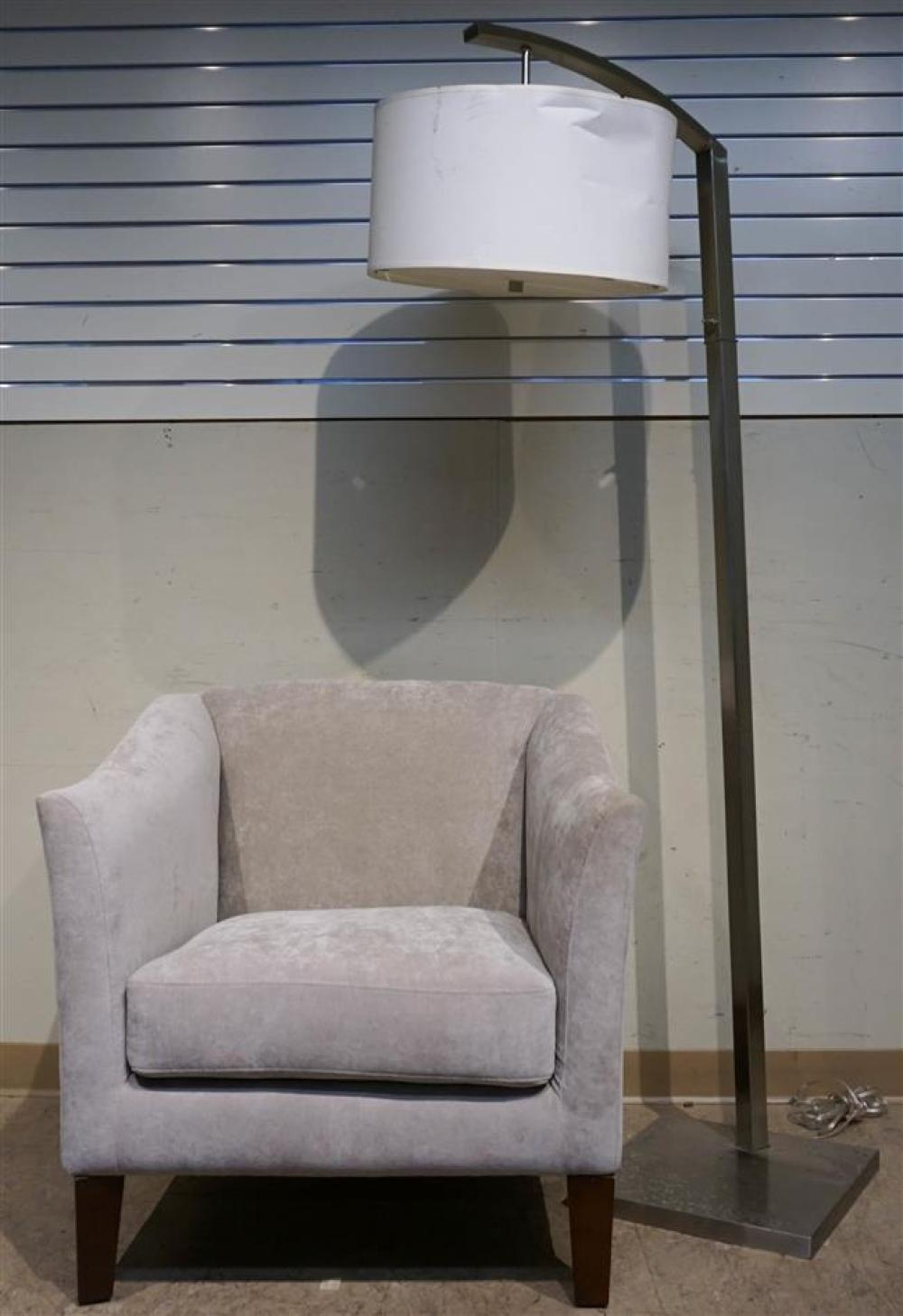 Contemporary Gray Upholstered Club Chair and Chrome Plate Floor Lamp