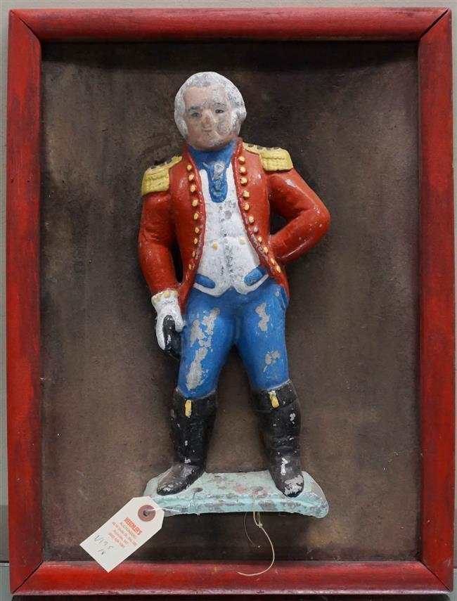 Painted Cast Iron Red Coat mounted on Wood Board; 20.75 x 15.75 Inches