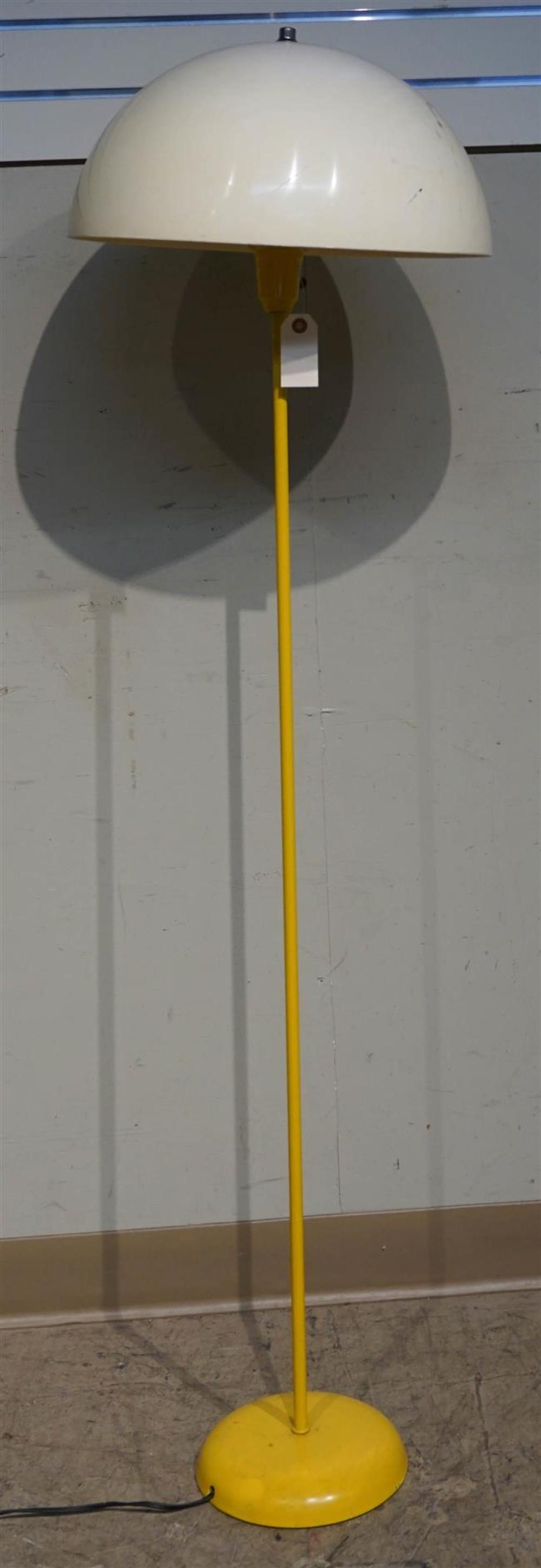 Yellow Enameled Metal Floor Lamp with Plastic Mushroom Shade; 55 Inches Overall Height