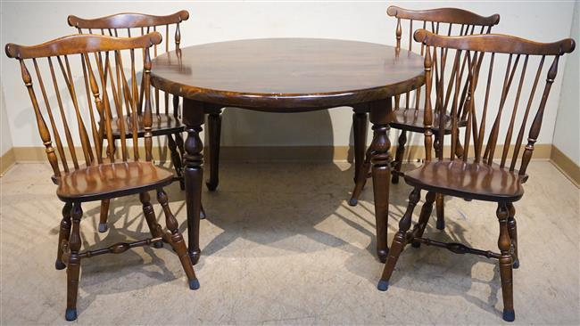 Stained Pine Round Extension Dining Table, Four Chairs and Two-Part Hutch