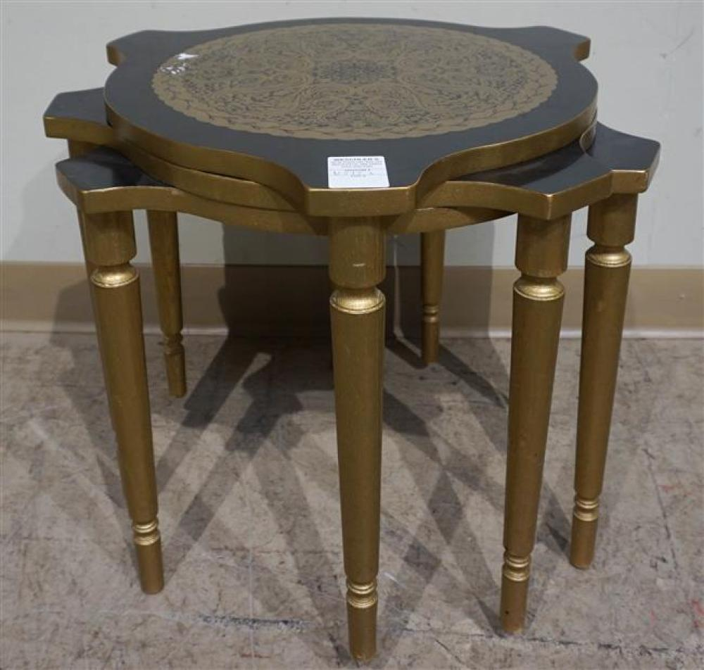 Nest of Three Mid-Century Gilt and Ebonized Wood Round Tables; 17.75 H x 17.75 D Inches