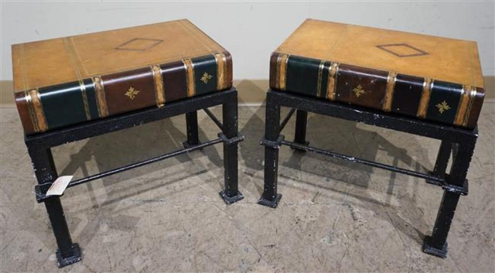 Pair Black Painted Metal 'Book' Top End Tables; 15 H x 16.25 W x 11.25 D