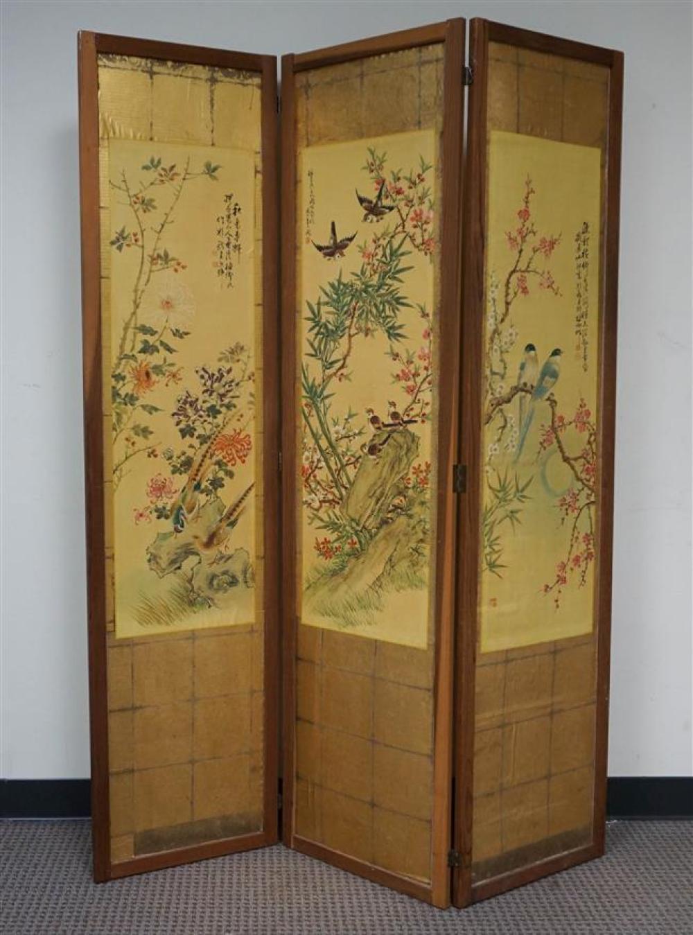 Japanese Three-Fold Floor Screen; 65.25 x 48.75 HW Inches