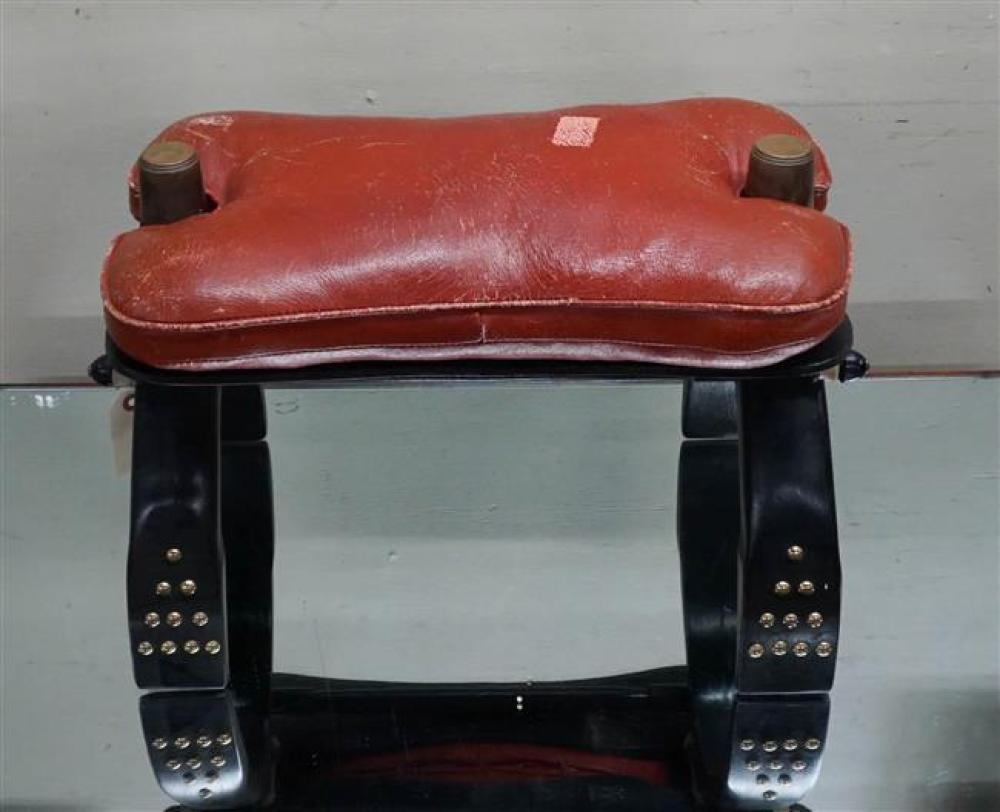 Ebonized Wood and Red Leather Camel Seat