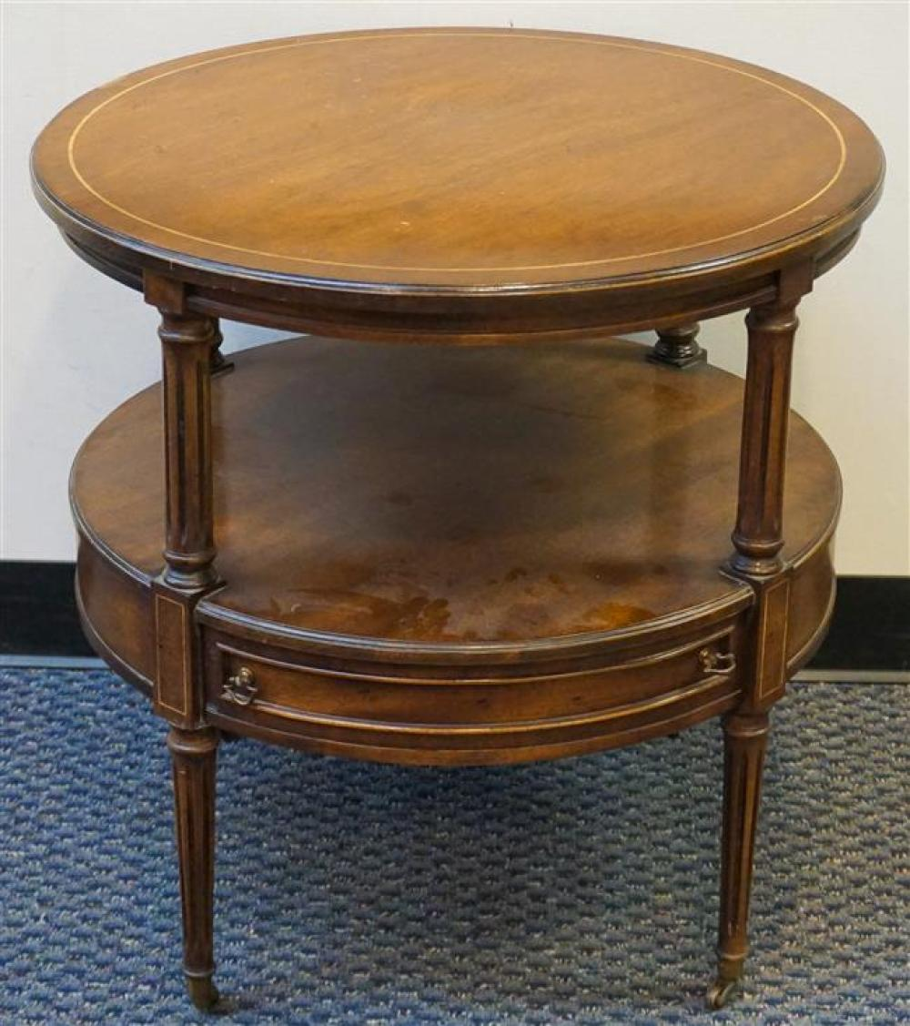 Brandt George III Style Inlaid Mahogany Round Side Table; 25.75 x 26 Height by Diameter Inches