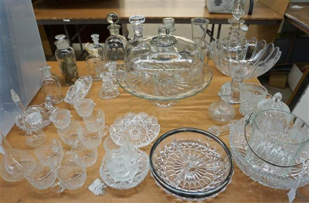 Group with Assorted Glass Decanters, Cake Stand and other Table Articles