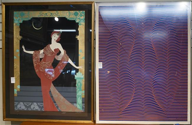 Art Deco Figure, Mixed Media and Abstract Poster, Each Framed