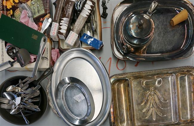 Group with Assorted Silver Plate and Stainless Steel Platters and Flatware