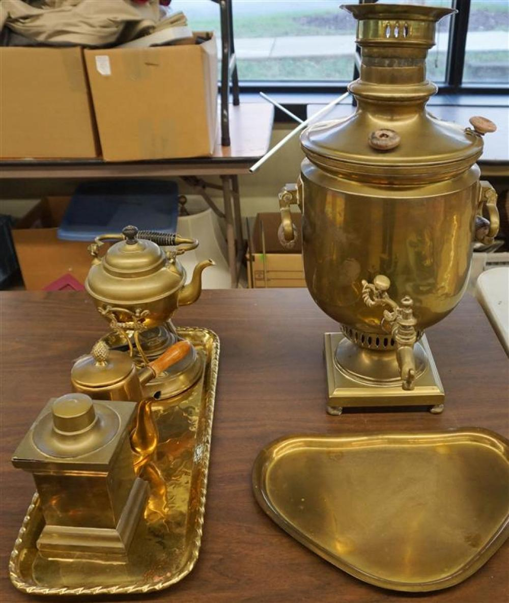 Brass Samovar, Kettle on Stand, Teapot, Tea Caddy and Two Trays
