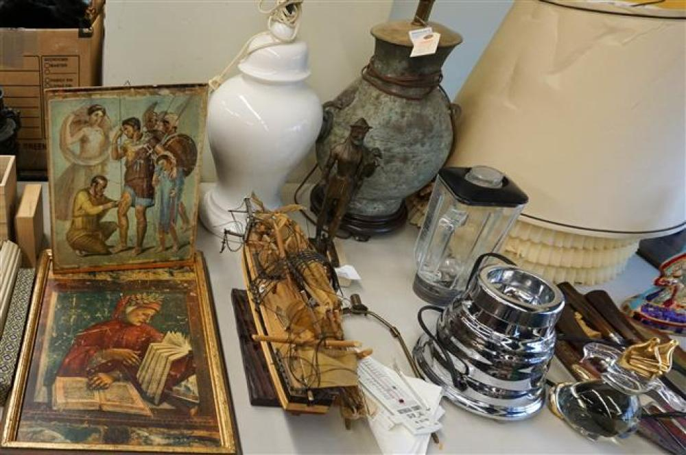 Two Table Lamps, Blender, Chinese Enamel Bronze Vase and other Table Articles