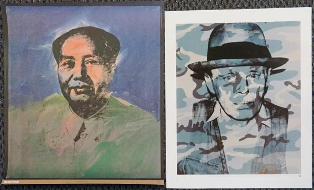 After Andy Warhol, Joseph Beuyrs and Chairman Mao, Two Offset Color Print Posters, the first published by Neues Publishing Co., New...