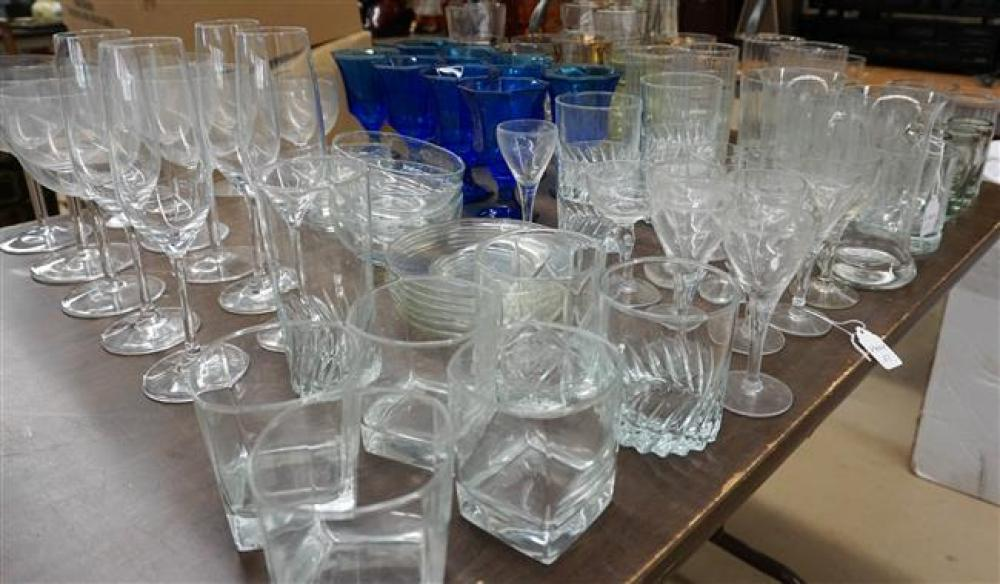Group with Assorted Clear and Colored Glass Stemware