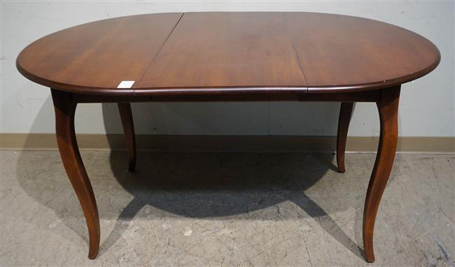 Athol Table Mfg Co. Stained Fruitwood Round Dining Table with Leaf and Four Chairs