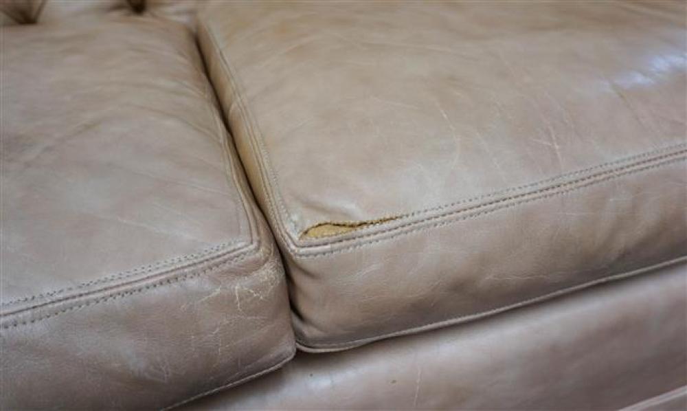 Chesterfield Style Light Brown Vinyl Upholstered Sofa, Width: 74 in