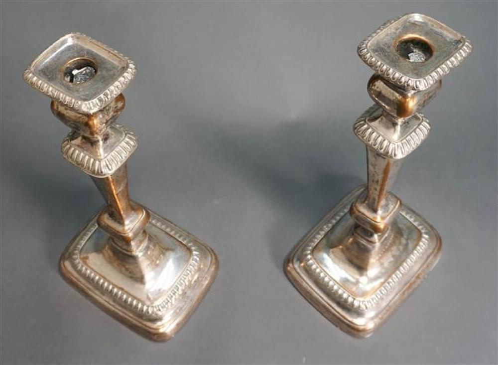 Pair Sheffield Silver Plate Candlesticks, Height: 12-1/4 in