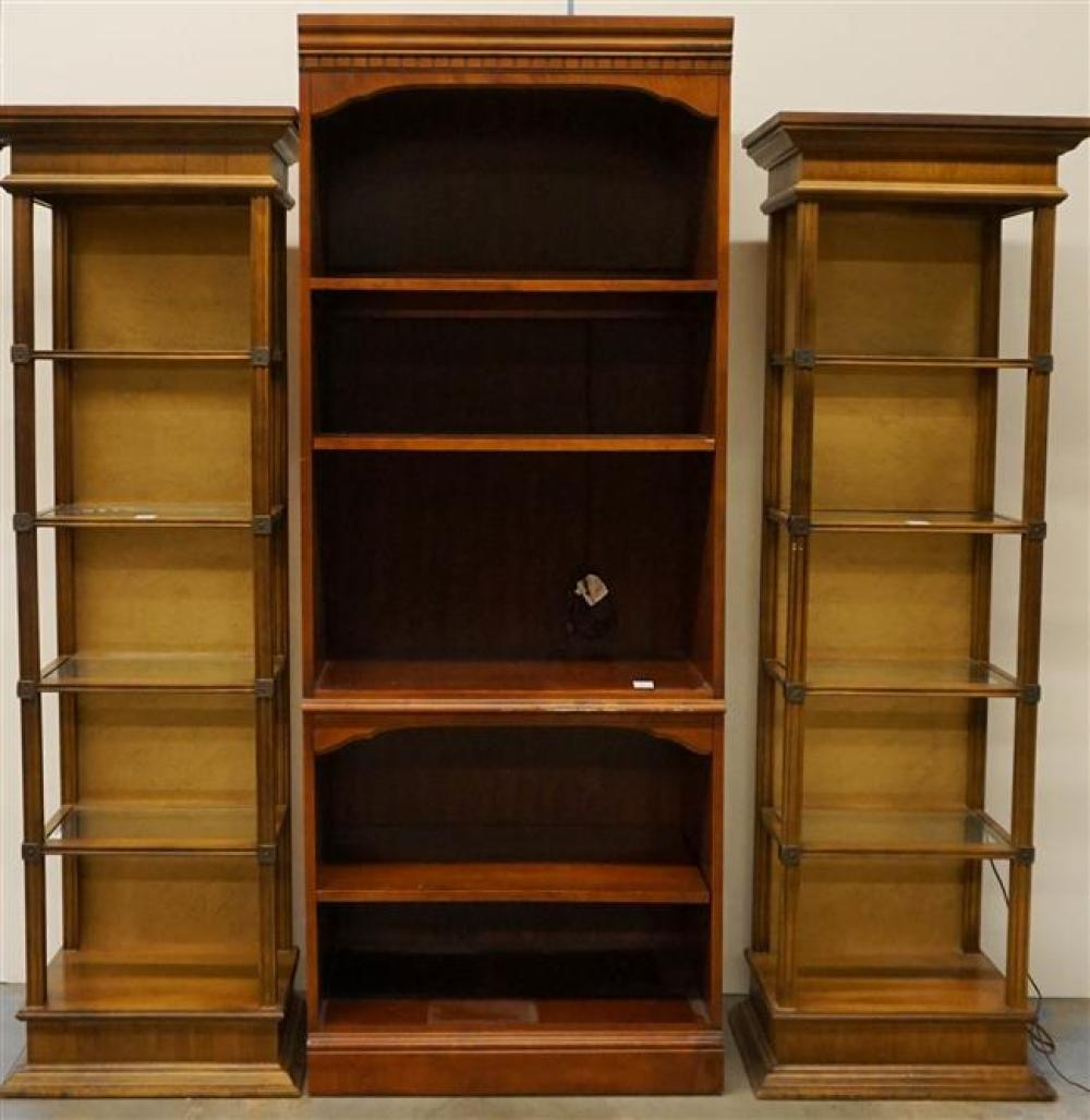 Pair Modern Fruitwood Glass Inset Illuminated Etageres and a Television Cabinet