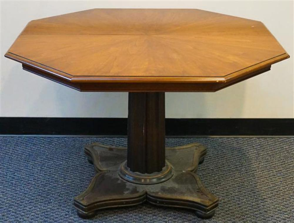 Neoclassical Style Cherry Octagonal Pedestal Base Extension Table with Two Leaves