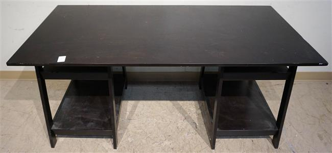 Ebonized Fruitwood Dining Table, Height: 29 in; Width: 64 in; Depth: 30 in