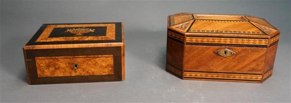 Two Inlaid Fruitwood Jewelry Boxes, Larger H: 5 in, Width: 10 in