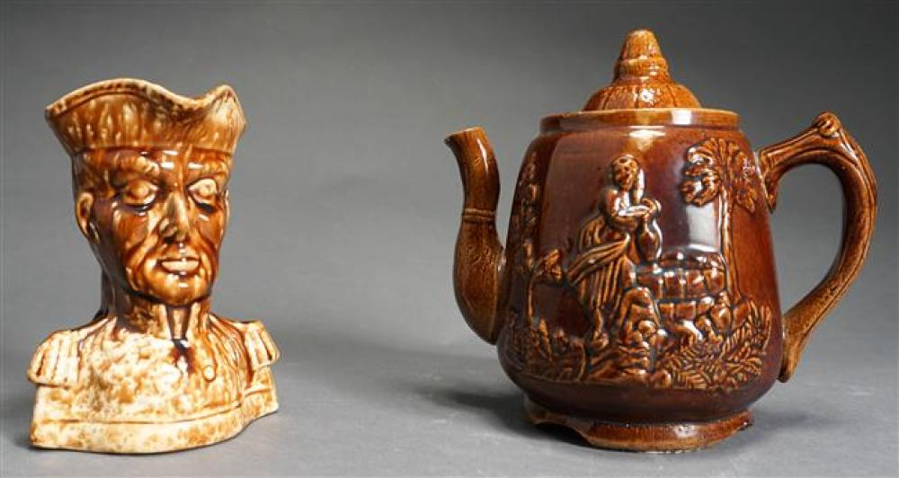 Two Bennington Pottery Cabinet Articles, Larger H: 7-1/2 in