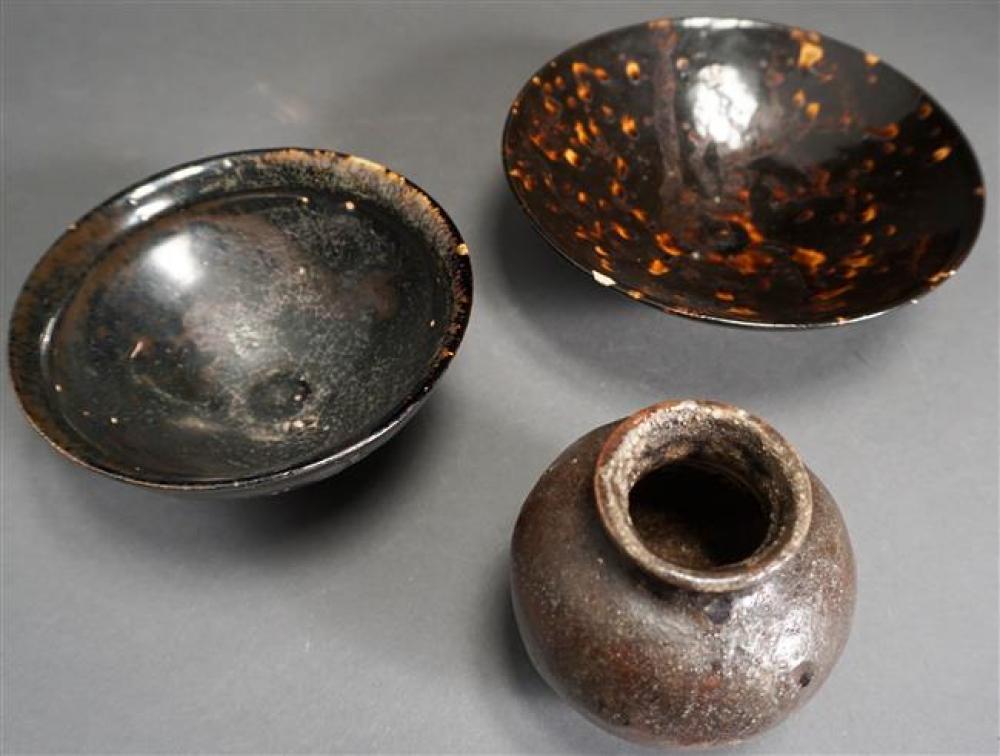 Three Chinese Sung-Type Brown Glaze Vessels