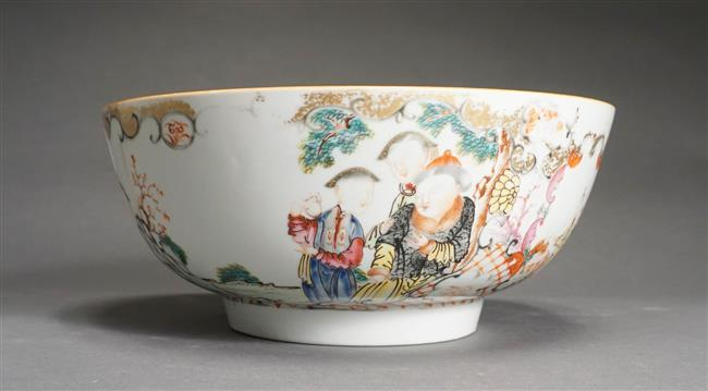 Chinese Export 'Famille Rose' Punch Bowl; Height: 4.75 in; Diameter: 11 in (Hairline Crack)