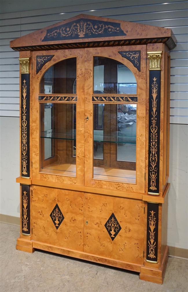 Biedermeier Style Faux Marquetry Bird's Eye Maple Veneer Two-Part Cabinet, Height: 89 in; Width: 59 in; Depth: 19 in