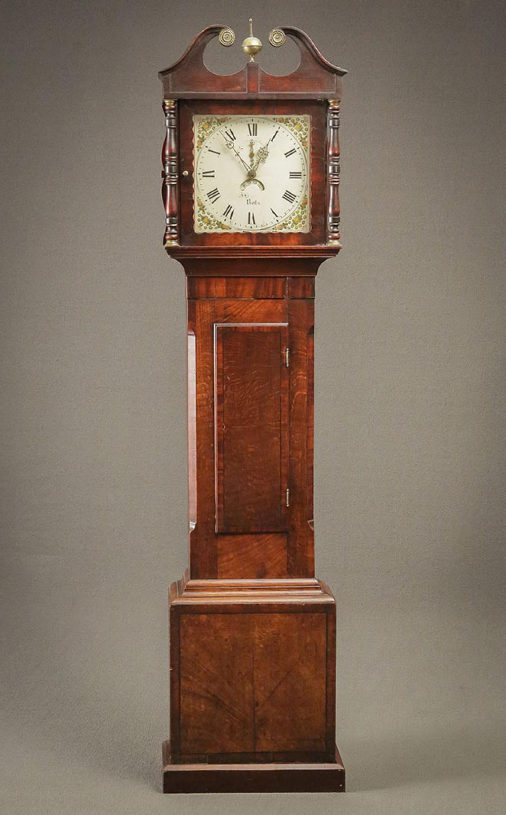 George IV Oak Tall Case Clock, Second Quarter 19th Century;