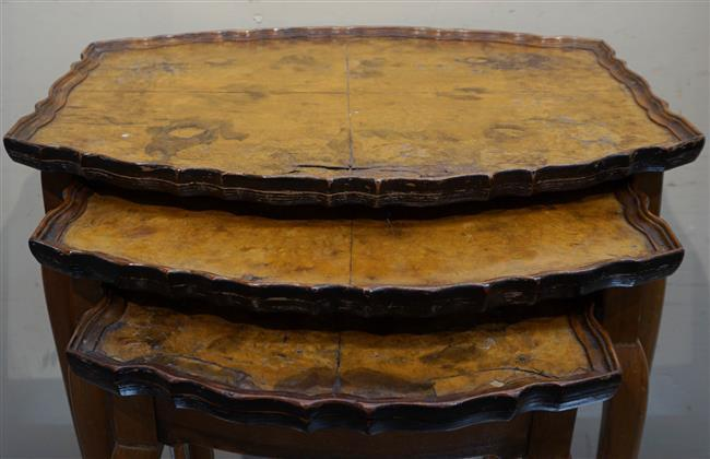 Nest of Three Queen Anne Style Walnut Tables; Largest at 21 x 20 x 15 HWD Inches