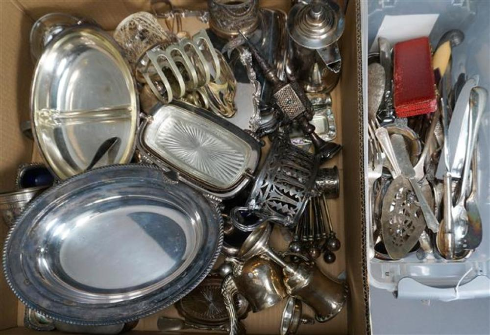 Group of American and Other Silver Plated Serving Articles and Flatware