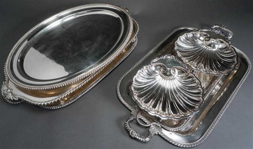 Five English or American Silver Plated Trays and a Pair of Shell-Form Dishes