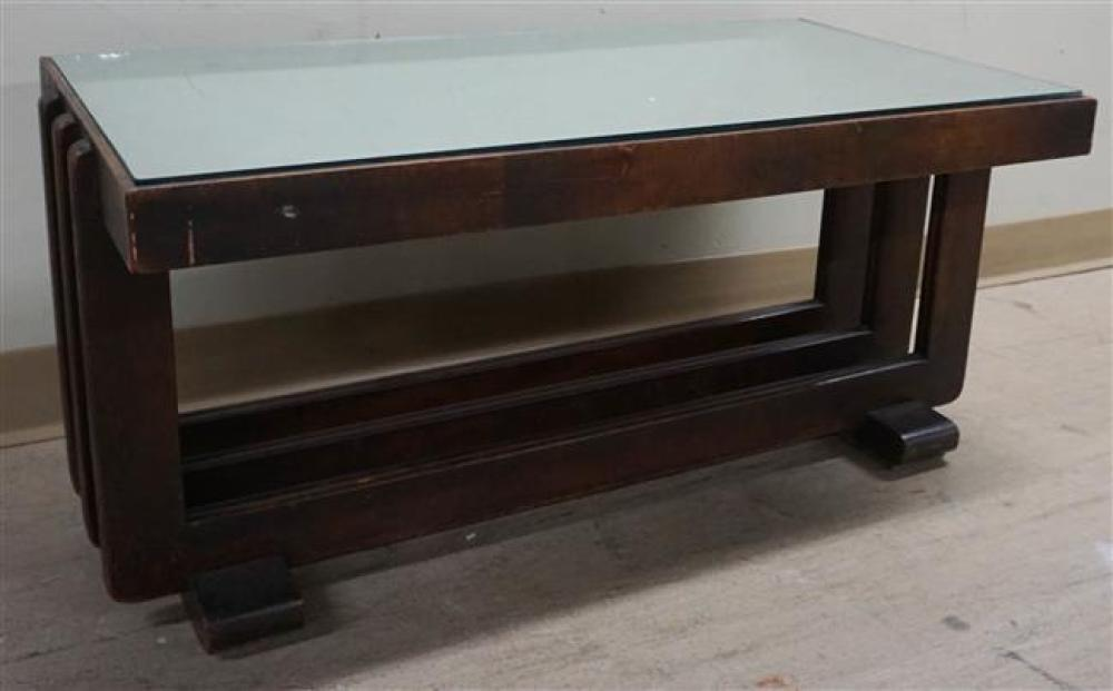 Art Deco Mirror Top Cocktail Table; 16.25 x 35 x 18.75 HWD Inches