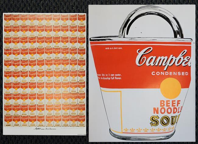 After Andy Warhol, Campbell's Beef Noodle Soup Can and One Hundred Campbell's Soup Cans, Two Unframed Offset Color Print Posters