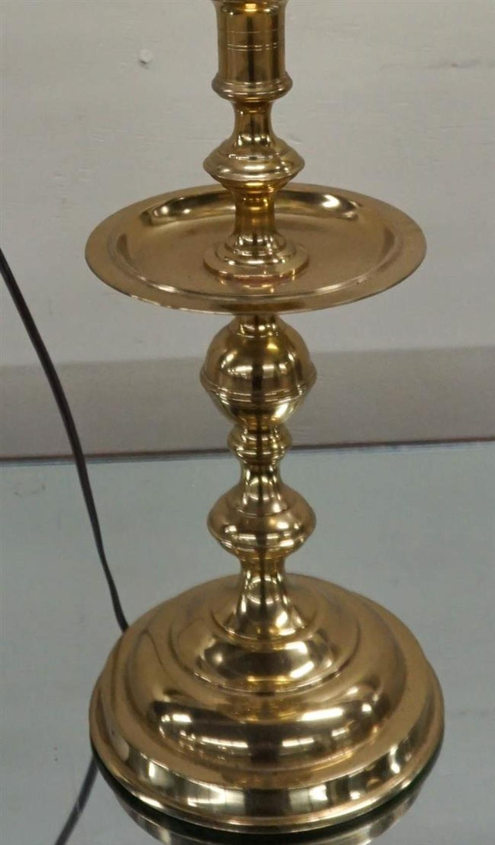 Brass Candlestick mounted as Lamp, Height overall: 30 in