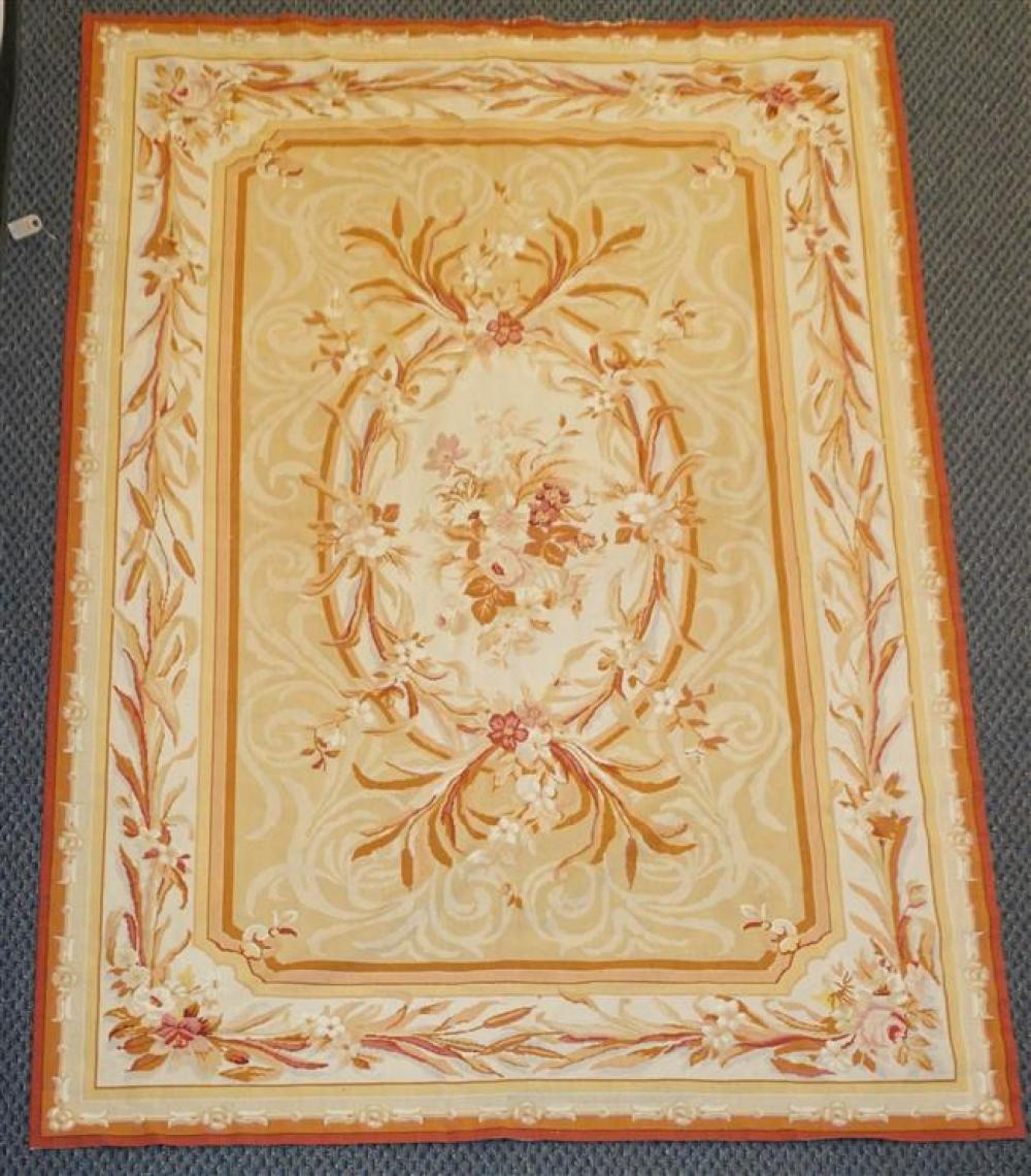 Aubusson Design Scatter Rug, 9 ft 2 in x 6 ft 2 in