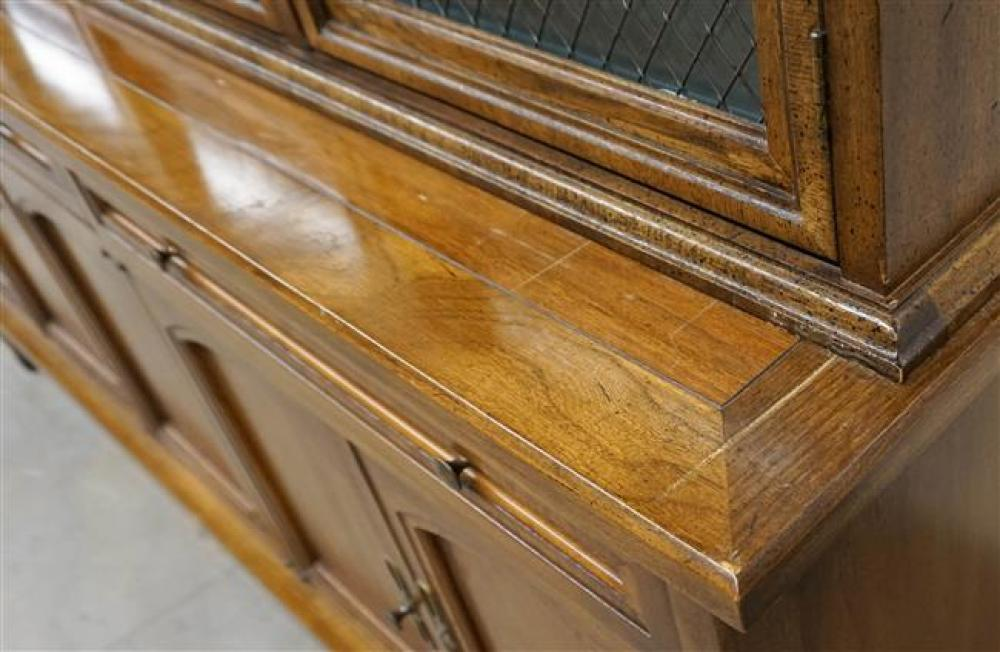 Modern Walnut Two-Part China Cabinet by White, H: 86 in, W: 70 in, D: 19-1/2 in