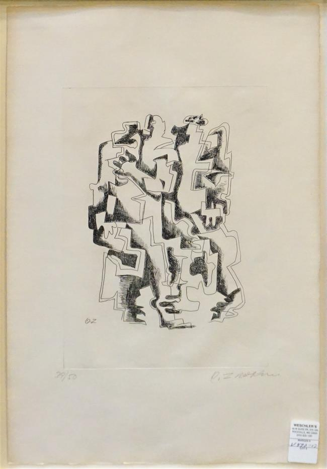 Ossip Zadkine (French/Russian 1890-1967), Abstract, Engraving, Signed l.r., Frame: 29 x 21 inches