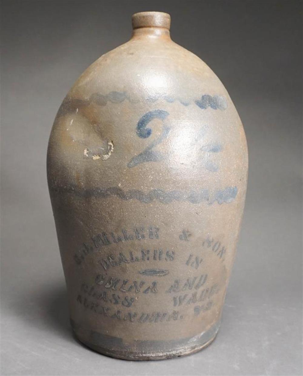 Alexandria Virginia Stoneware Two Gallon Jug, Height: 14 in