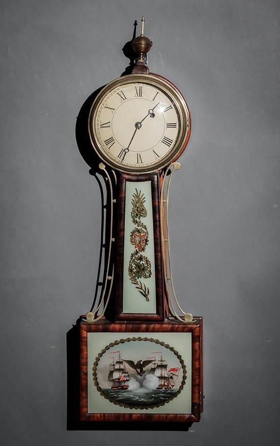 Federal Brass Mounted Églomisé Panel Mahogany 'Banjo' Clock, Boston, Circa 1830-1840