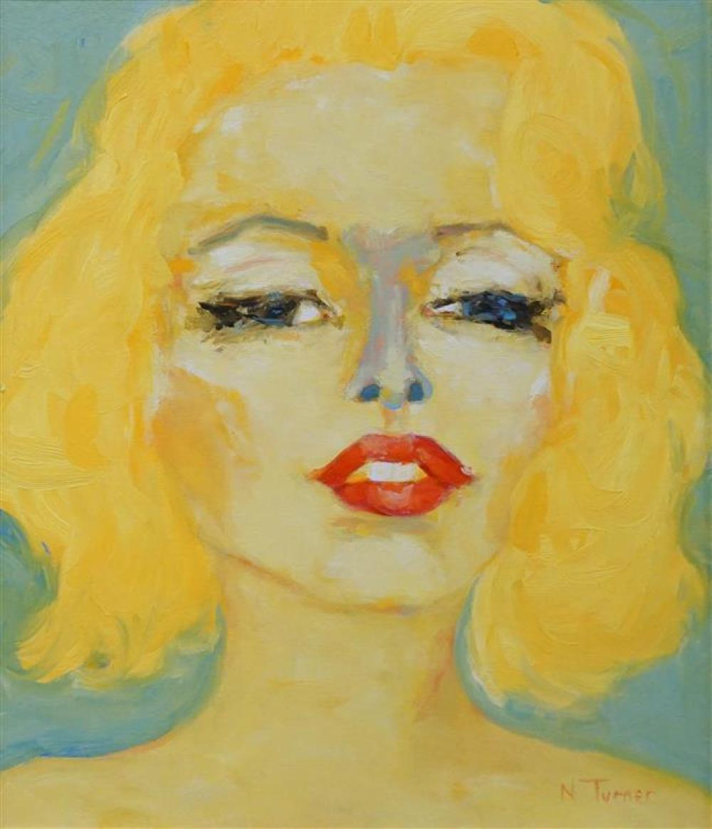 N. Turner, Portrait of Marilyn Monroe, Oil on Canvas, Frame: 30-1/4 x 26 in