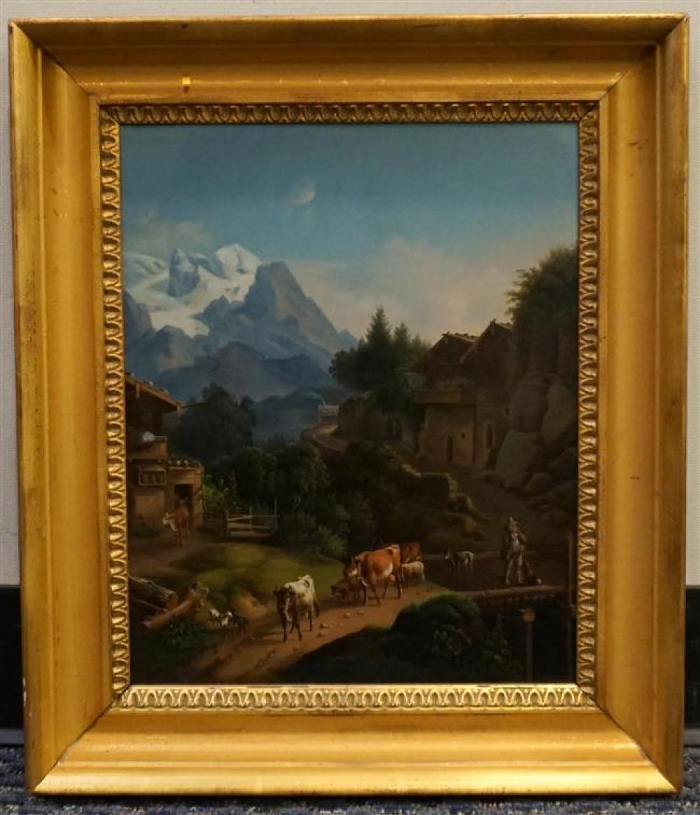 Swiss 19th Century School, Pastoral Alpine Landscape, Oil on Tin, Frame: 19-3/4 x 17 in