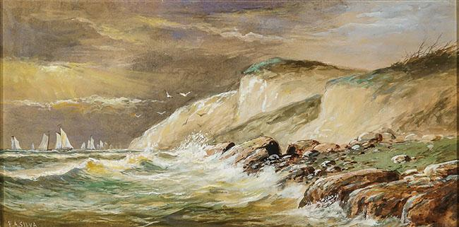 Francis Augustus Silva (American 1835-1886), Sailboats off a Rocky Coast, Signed, Framed Watercolor with White Heightening