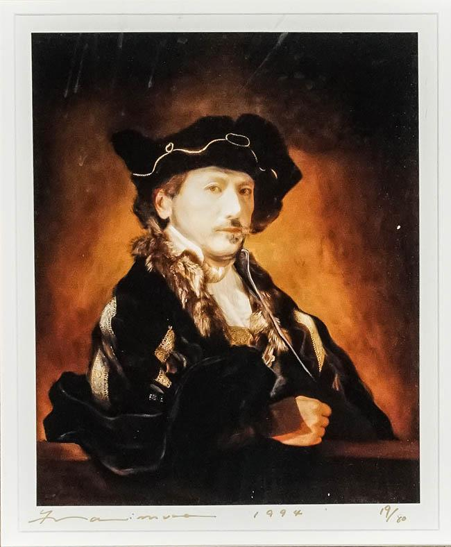 Yasumasa Morimura (Japanese b. 1951), Daughter of Art History: Rembrandt (Self-Portrait), Signed, Framed C-Print, 11-1/2 x 9-1/4 inches