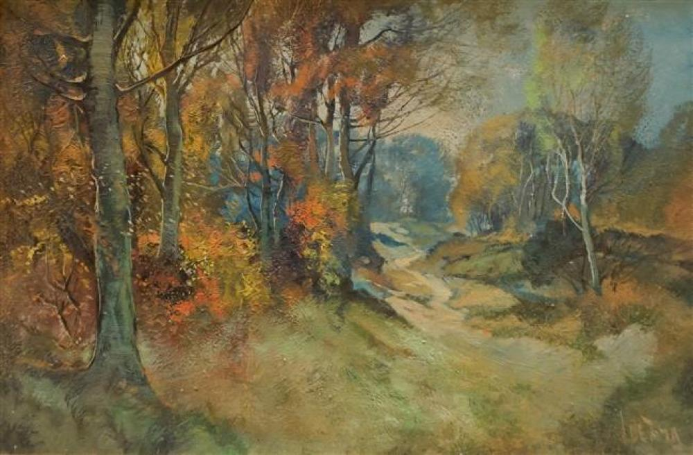 L. de Jong, Autumn Landscape, Oil on Canvas, Framed, 28 x 40-1/2 inches