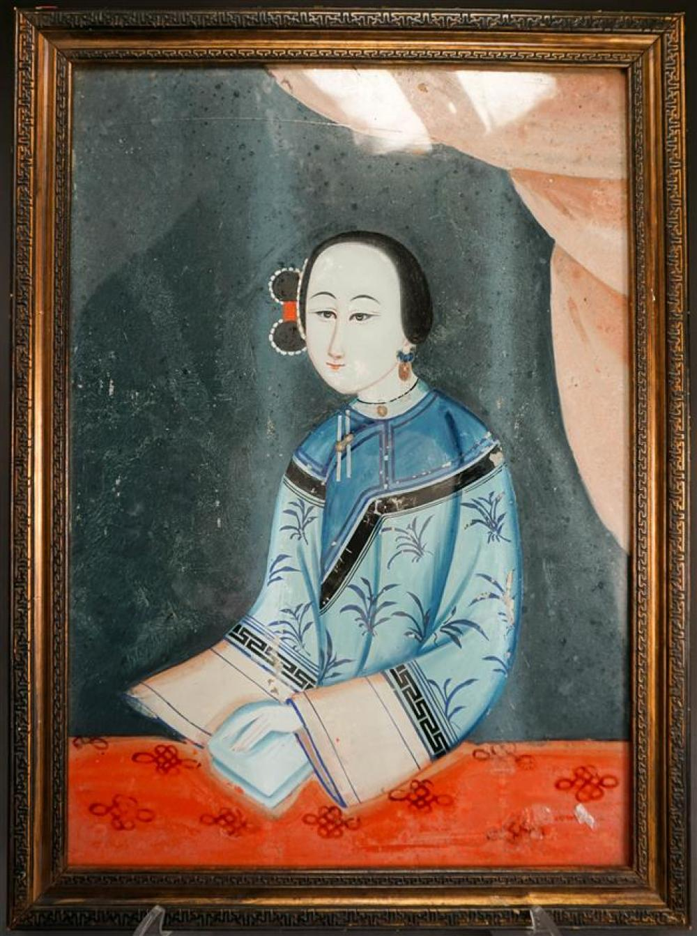 Chinese Export Eglomise Portrait of Lady, Frame: 22-1/4 x 16-1/2 in